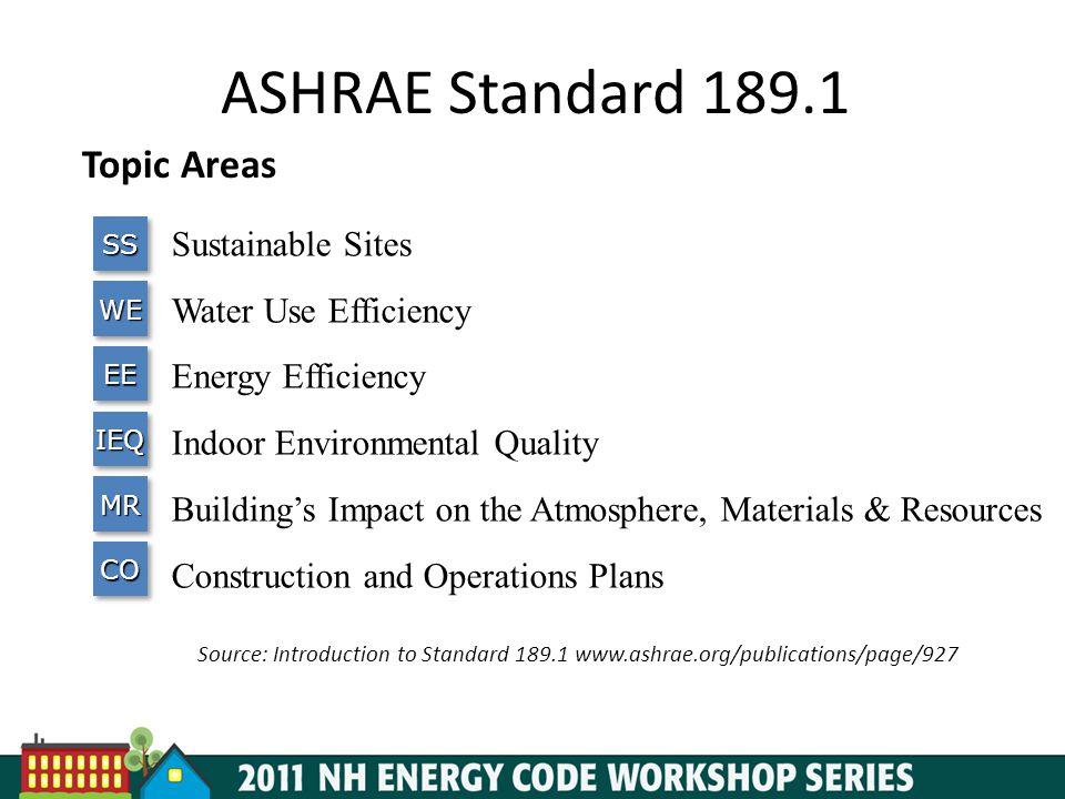 ASHRAE Standard 189.1 Topic Areas Sustainable Sites
