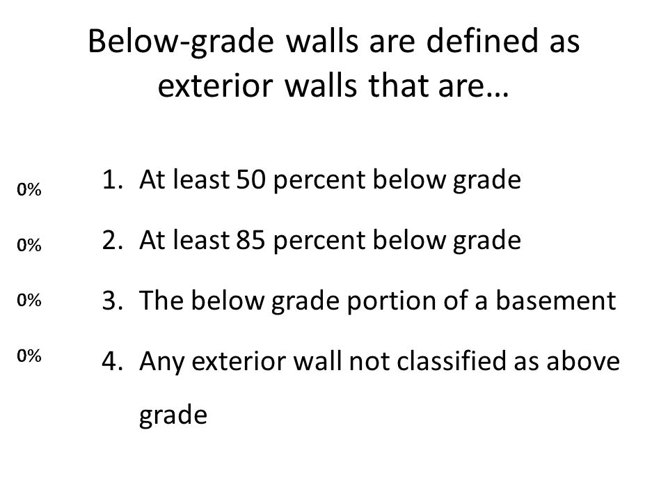 Below-grade walls are defined as exterior walls that are…