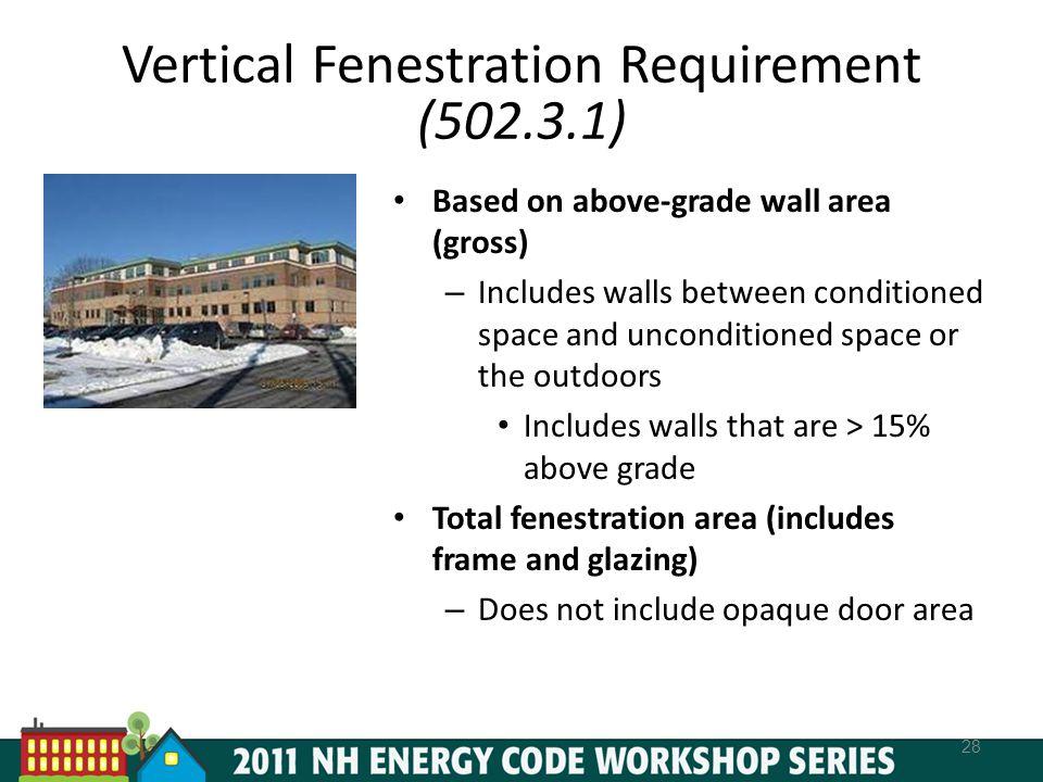 Vertical Fenestration Requirement (502.3.1)