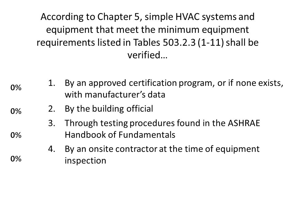 According to Chapter 5, simple HVAC systems and equipment that meet the minimum equipment requirements listed in Tables 503.2.3 (1-11) shall be verified…