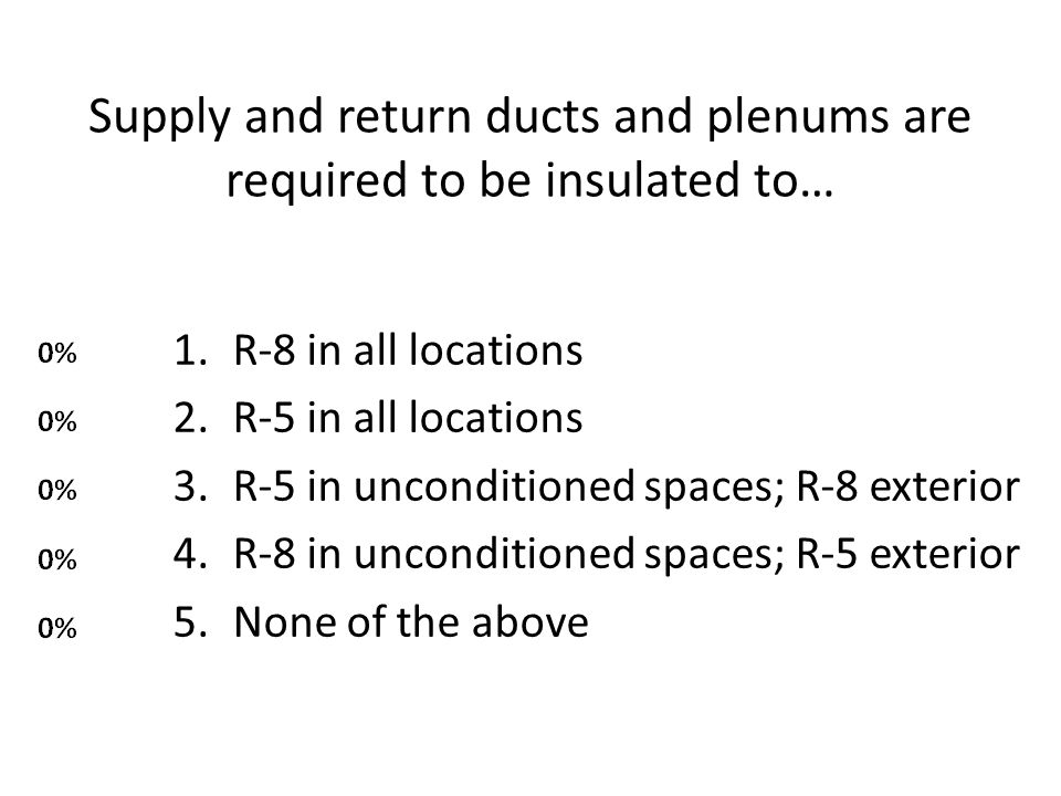 Supply and return ducts and plenums are required to be insulated to…