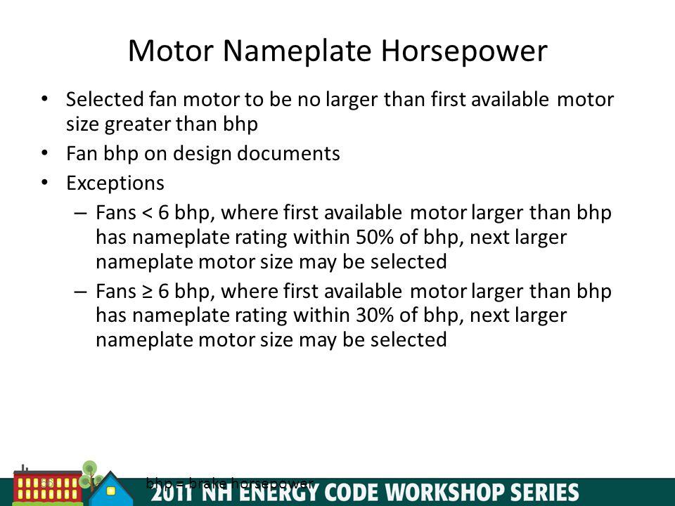 Motor Nameplate Horsepower