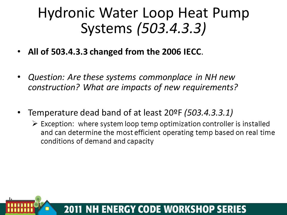 Hydronic Water Loop Heat Pump Systems (503.4.3.3)