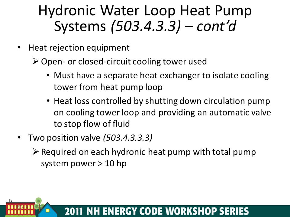Hydronic Water Loop Heat Pump Systems (503.4.3.3) – cont'd