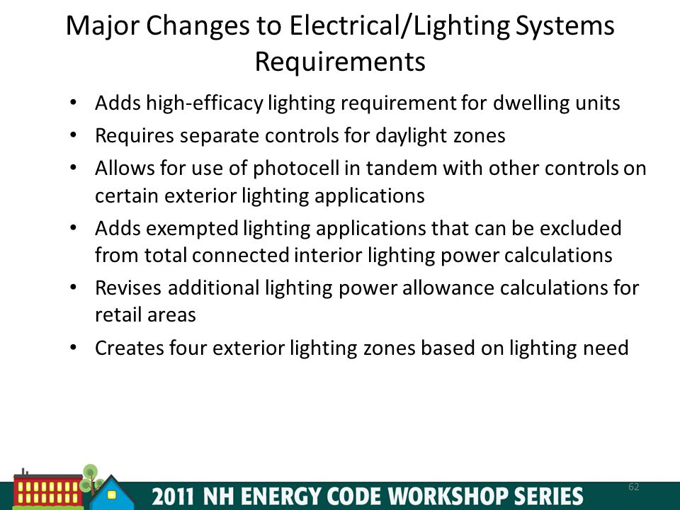 Major Changes to Electrical/Lighting Systems Requirements