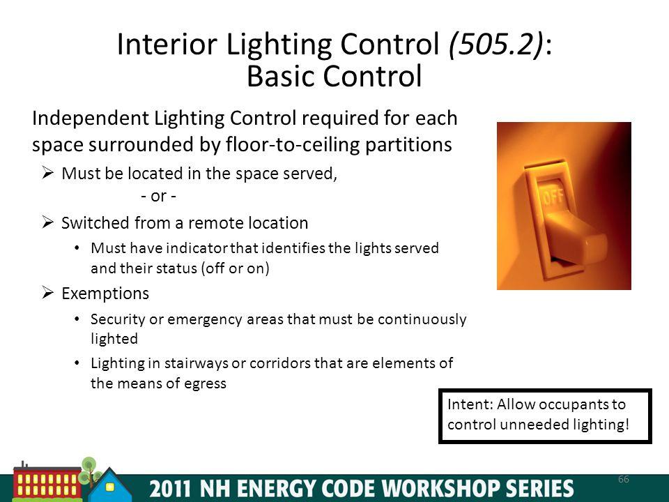 Interior Lighting Control (505.2): Basic Control