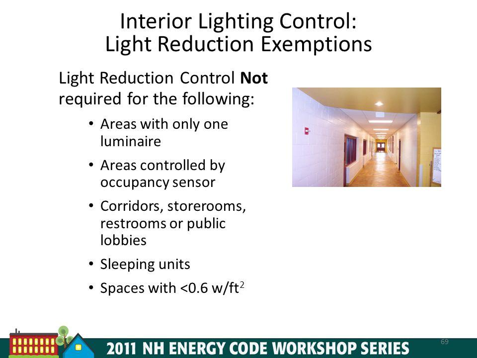 Interior Lighting Control: Light Reduction Exemptions