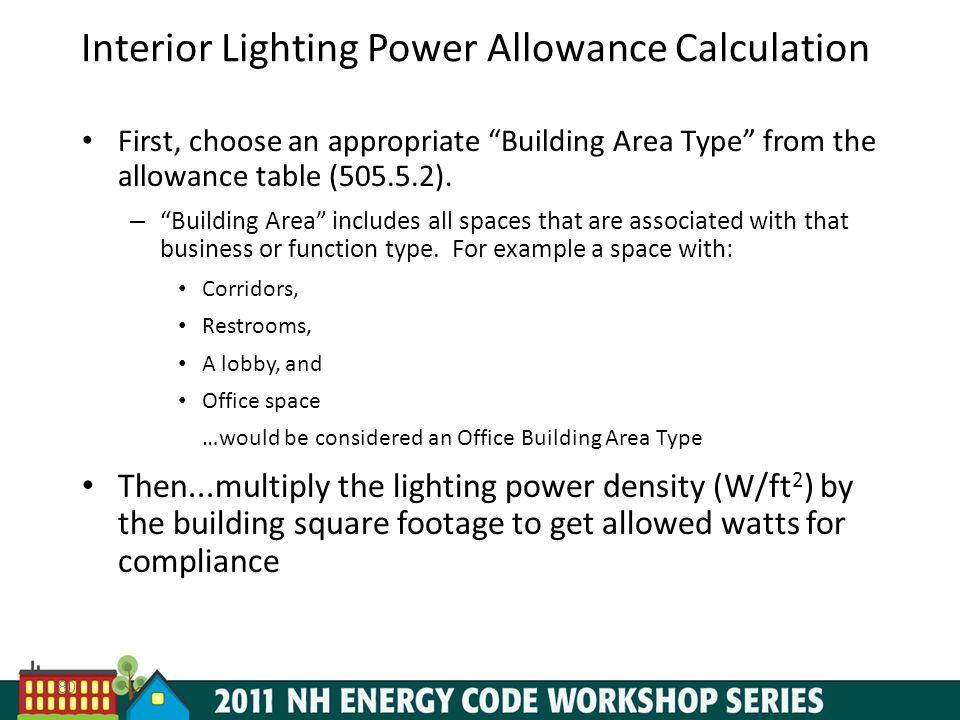 Interior Lighting Power Allowance Calculation