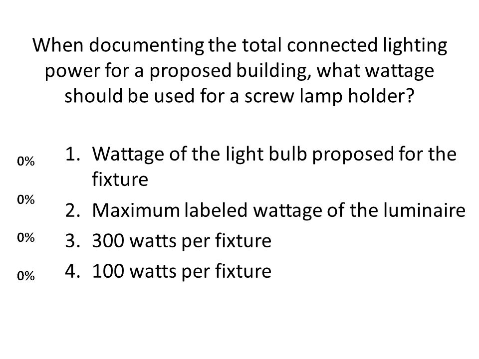 Wattage of the light bulb proposed for the fixture