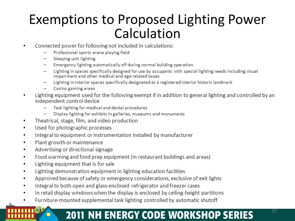 Exemptions to Proposed Lighting Power Calculation