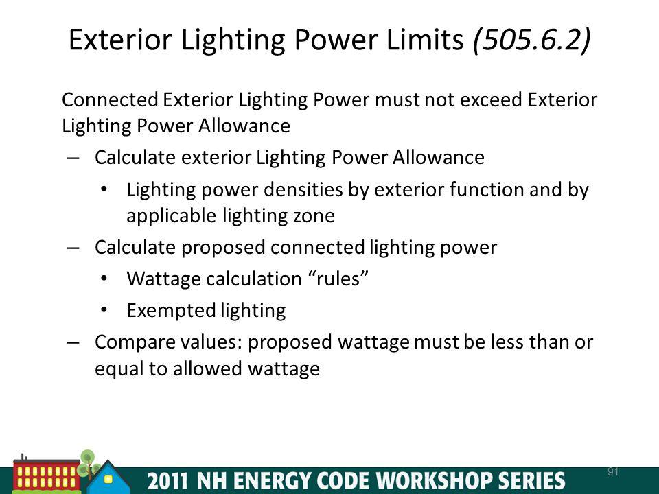 Exterior Lighting Power Limits (505.6.2)