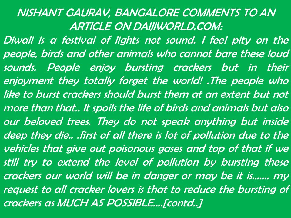 NISHANT GAURAV, BANGALORE COMMENTS TO AN ARTICLE ON DAIJIWORLD.COM: