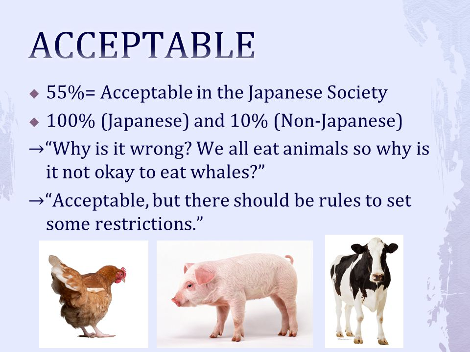 ACCEPTABLE 55%= Acceptable in the Japanese Society