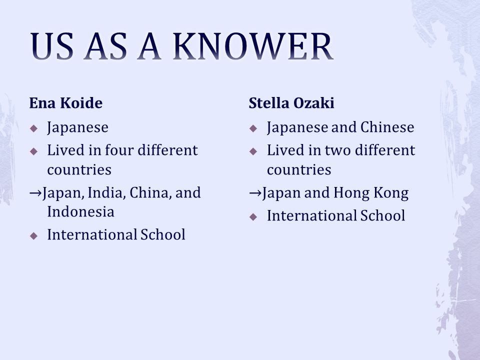 US AS A KNOWER Ena Koide Stella Ozaki Japanese