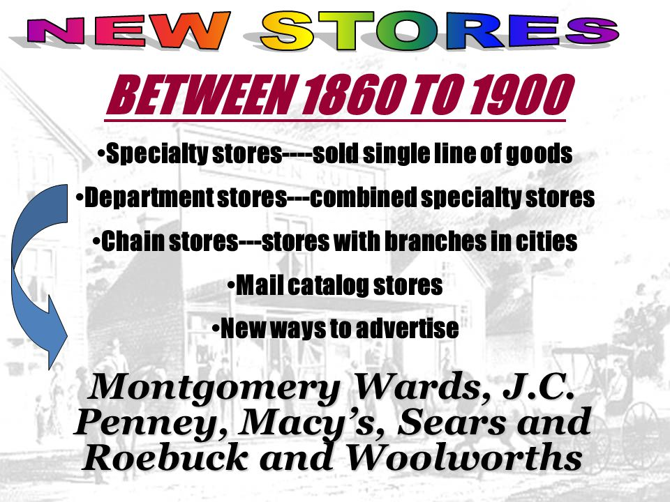 NEW STORES BETWEEN 1860 TO 1900. Specialty stores----sold single line of goods. Department stores---combined specialty stores.