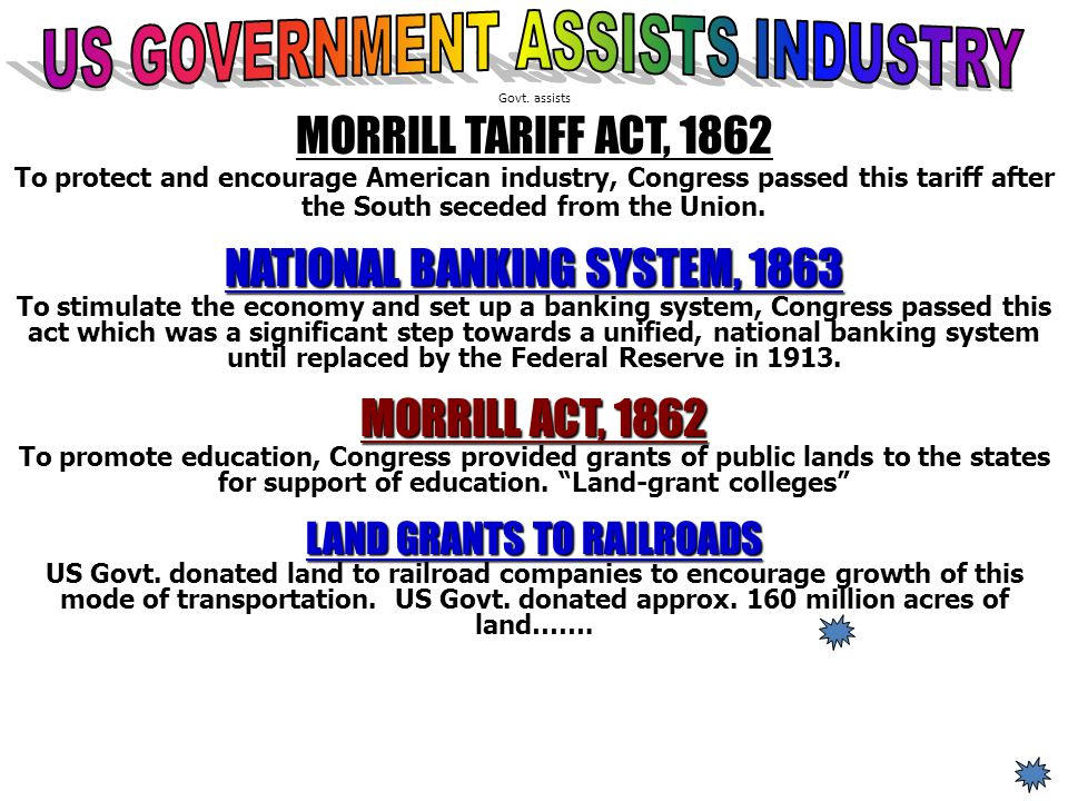US GOVERNMENT ASSISTS INDUSTRY