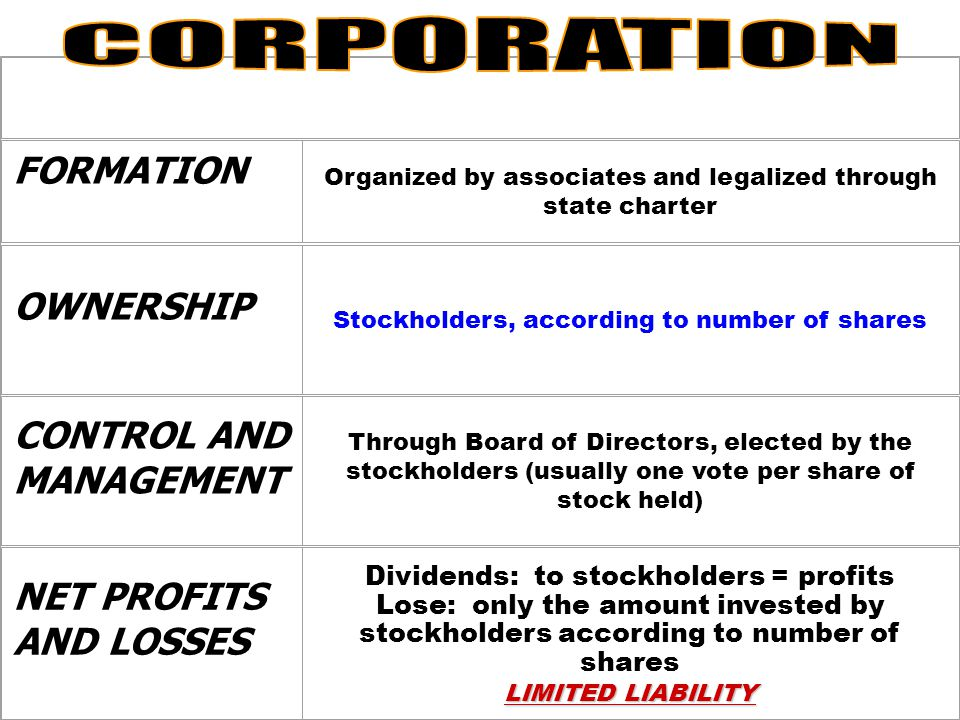 CORPORATION FORMATION OWNERSHIP CONTROL AND MANAGEMENT NET PROFITS