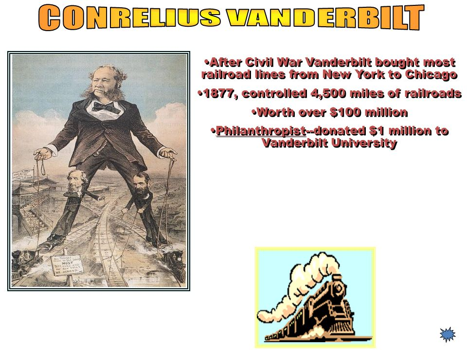 CONRELIUS VANDERBILT After Civil War Vanderbilt bought most railroad lines from New York to Chicago.