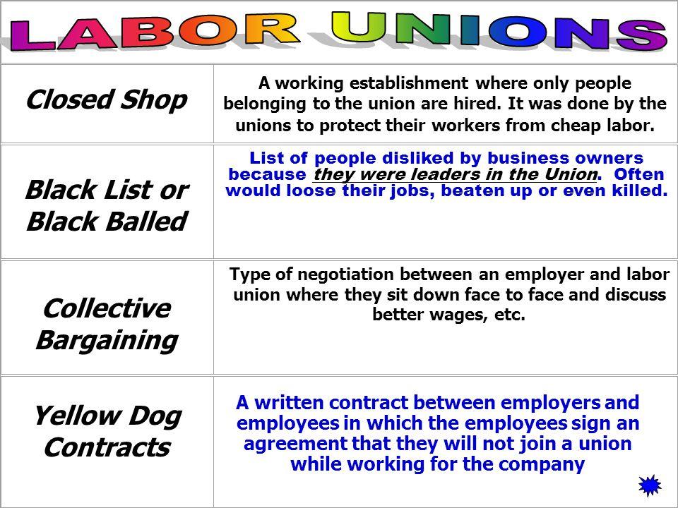 Black List or Black Balled Collective Bargaining