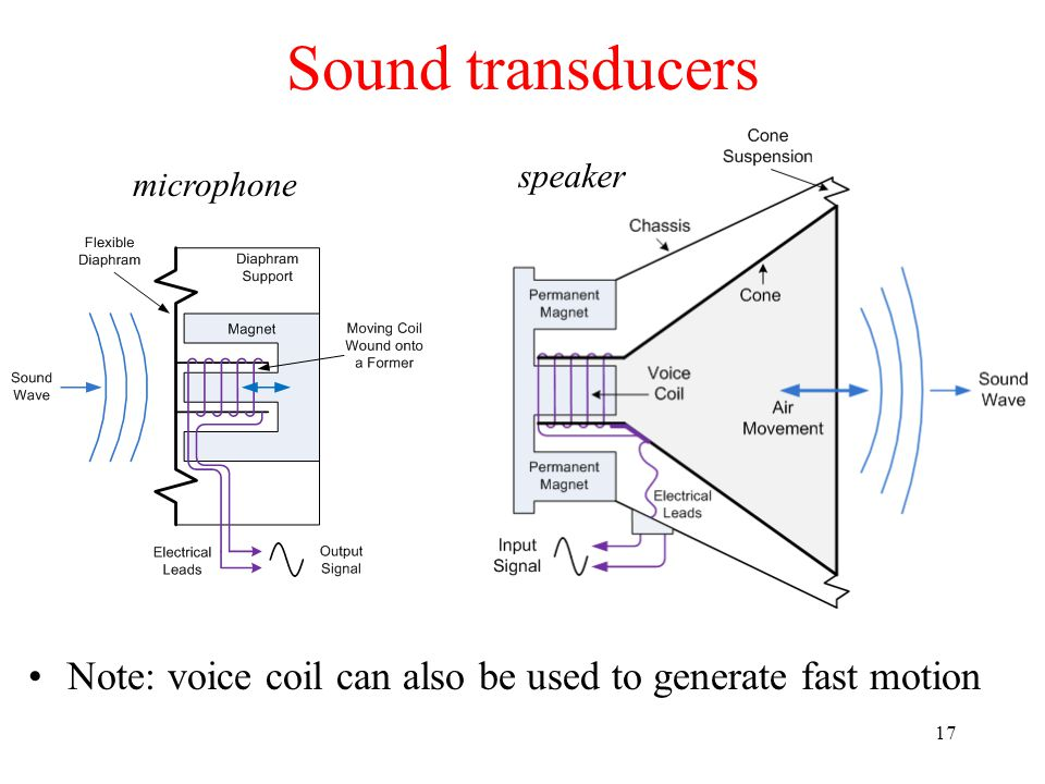 Sound transducers speaker microphone Note: voice coil can also be used to generate fast motion