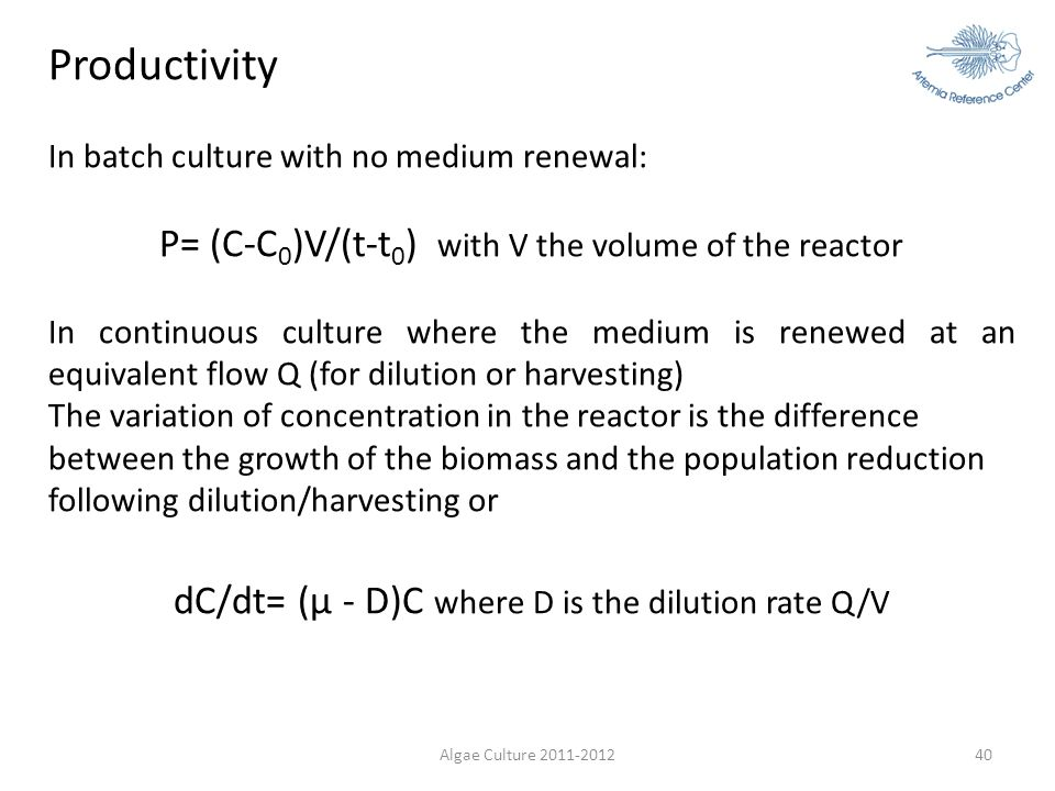 Productivity P= (C-C0)V/(t-t0) with V the volume of the reactor