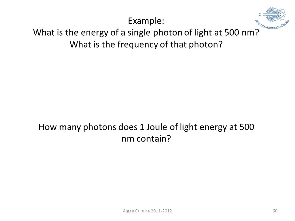 How many photons does 1 Joule of light energy at 500 nm contain