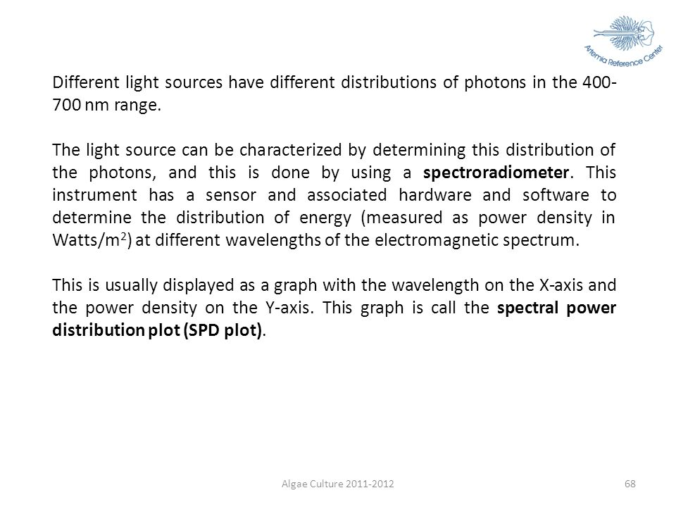 Different light sources have different distributions of photons in the 400-700 nm range.