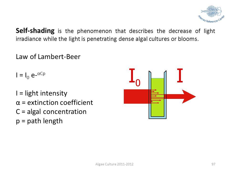 α = extinction coefficient C = algal concentration p = path length
