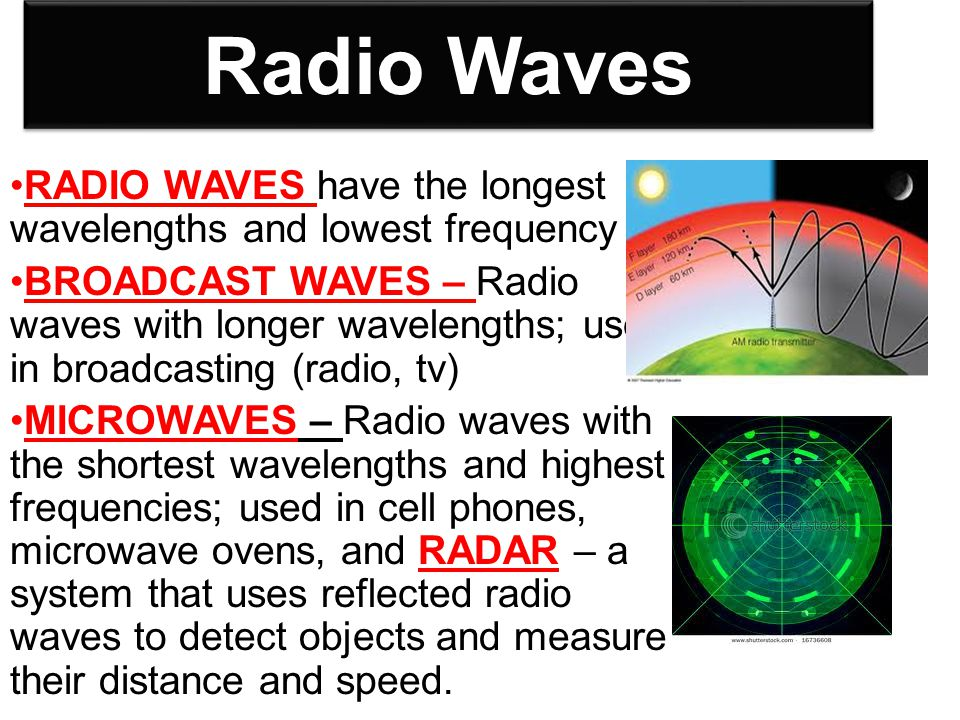 Radio Waves RADIO WAVES have the longest wavelengths and lowest frequency.