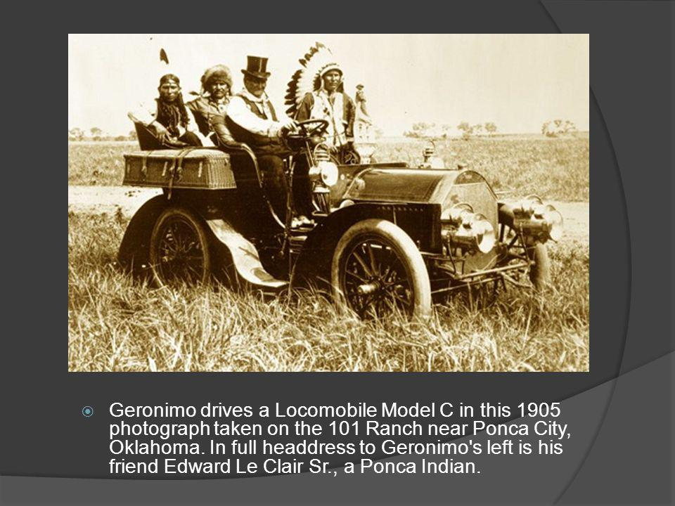 Geronimo drives a Locomobile Model C in this 1905 photograph taken on the 101 Ranch near Ponca City, Oklahoma.