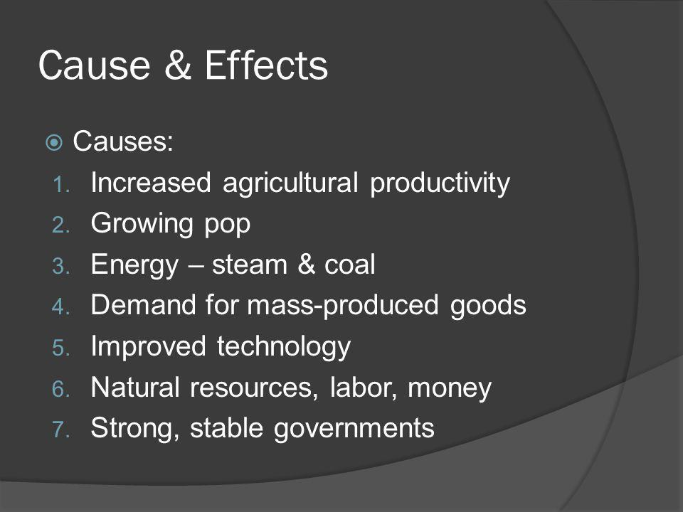 Cause & Effects Causes: Increased agricultural productivity