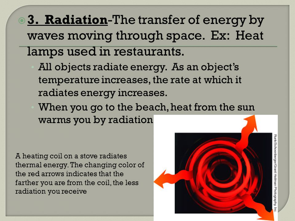 3. Radiation-The transfer of energy by waves moving through space