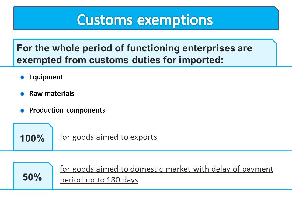 Customs exemptions For the whole period of functioning enterprises are exempted from customs duties for imported:
