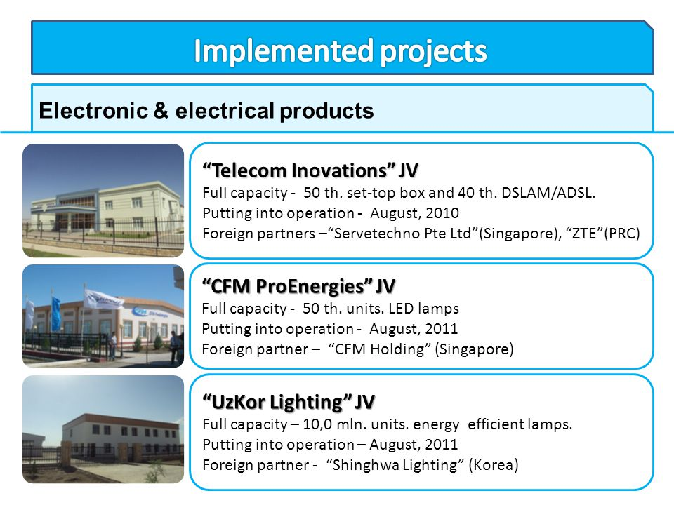 Implemented projects Electronic & electrical products