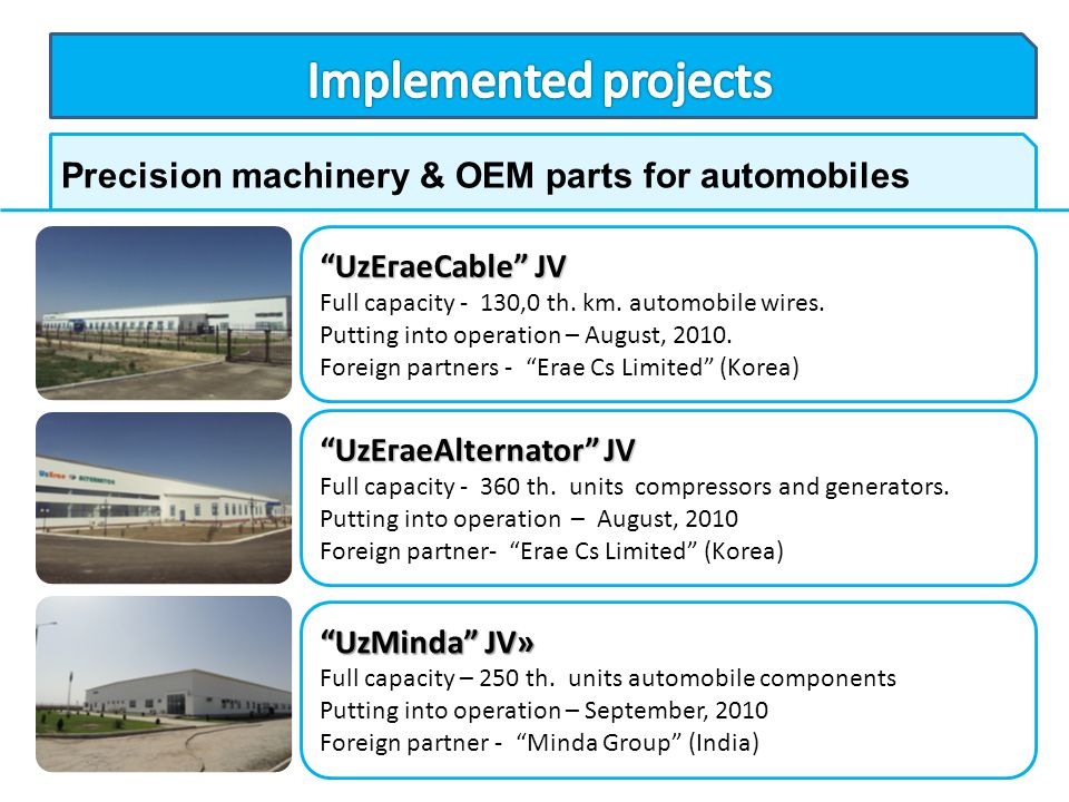 Implemented projects Precision machinery & OEM parts for automobiles