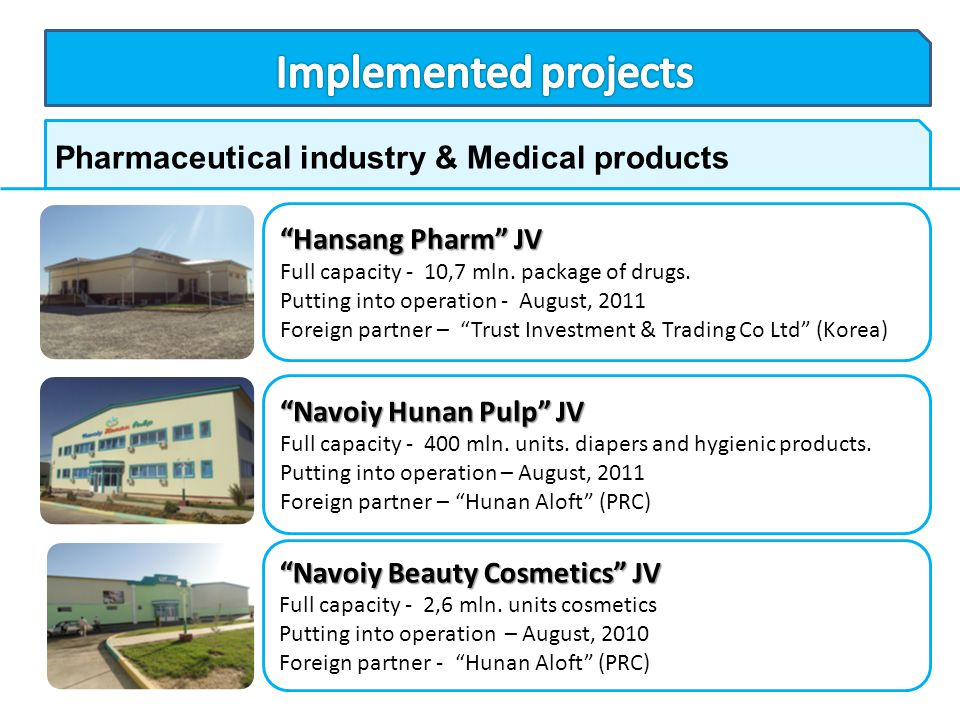 Implemented projects Pharmaceutical industry & Medical products