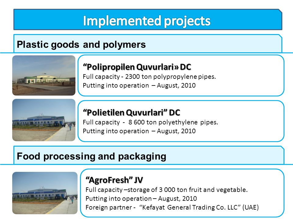 Implemented projects Plastic goods and polymers