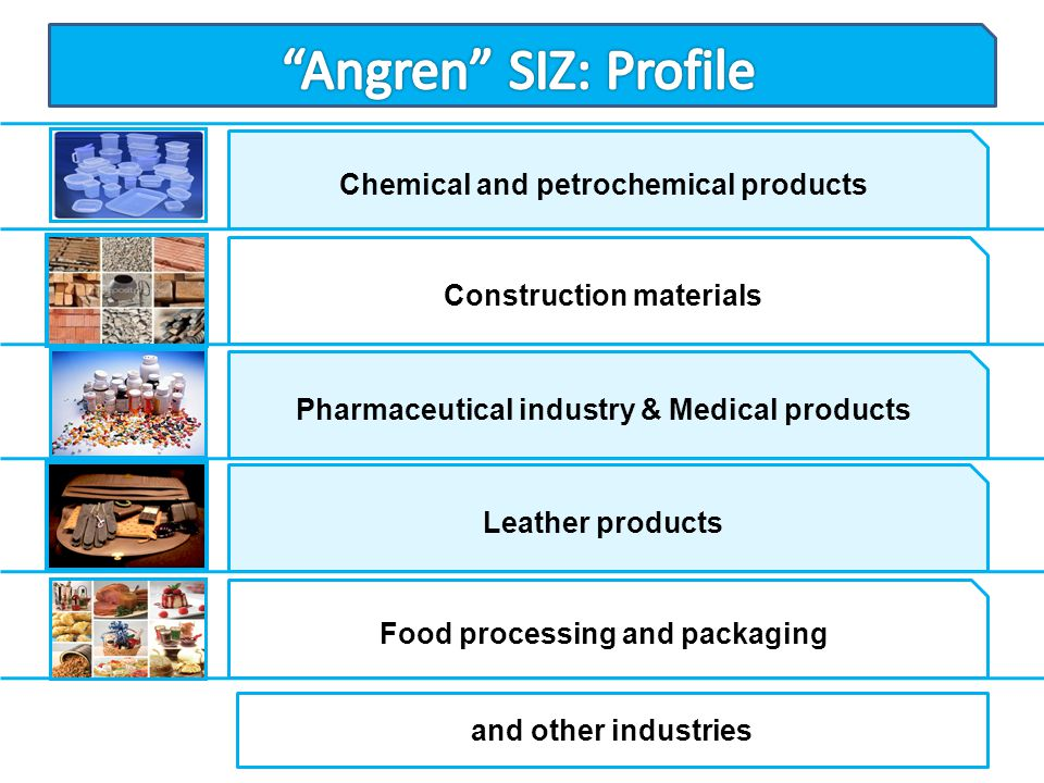 Angren SIZ: Profile Chemical and petrochemical products