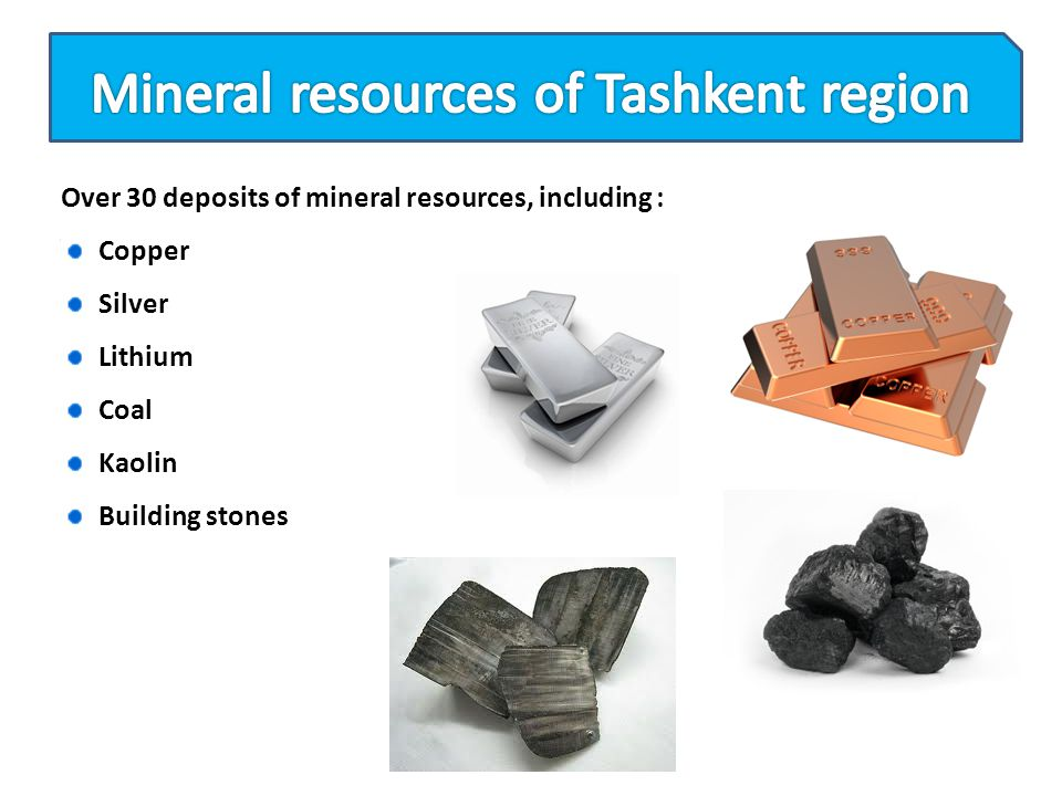 Mineral resources of Tashkent region
