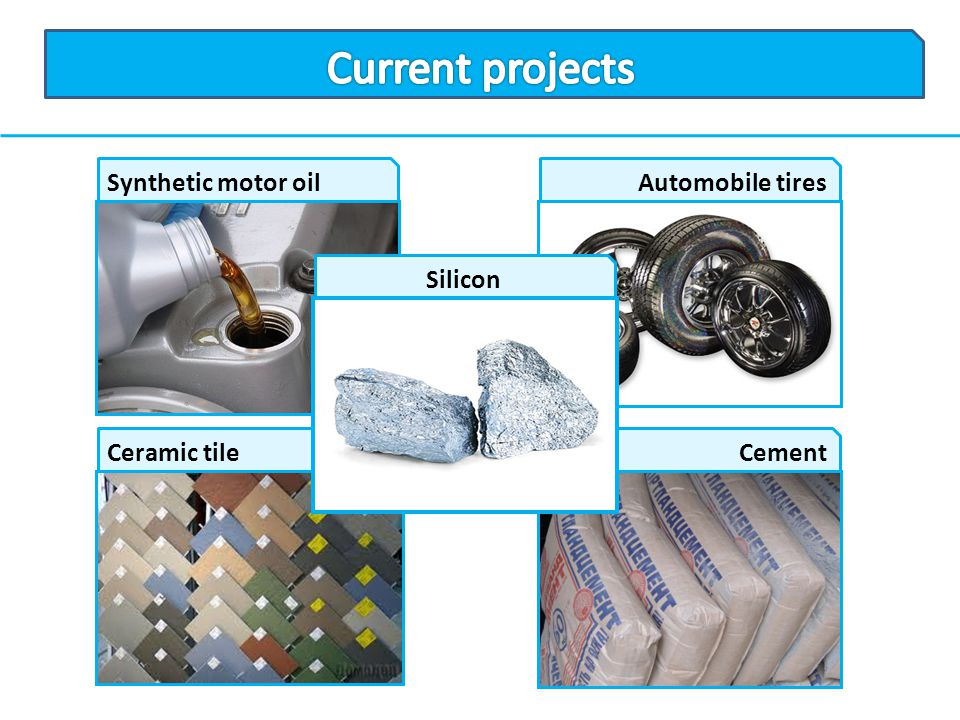 Current projects Synthetic motor oil Automobile tires Silicon