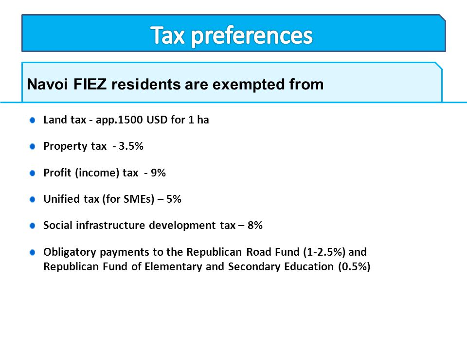 Tax preferences Navoi FIEZ residents are exempted from