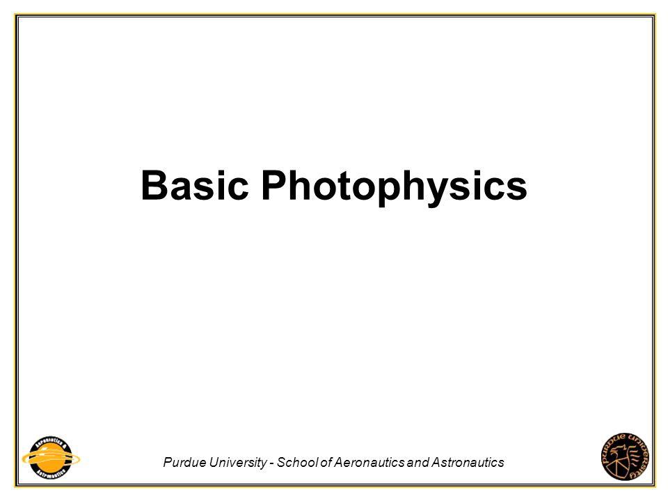 Basic Photophysics