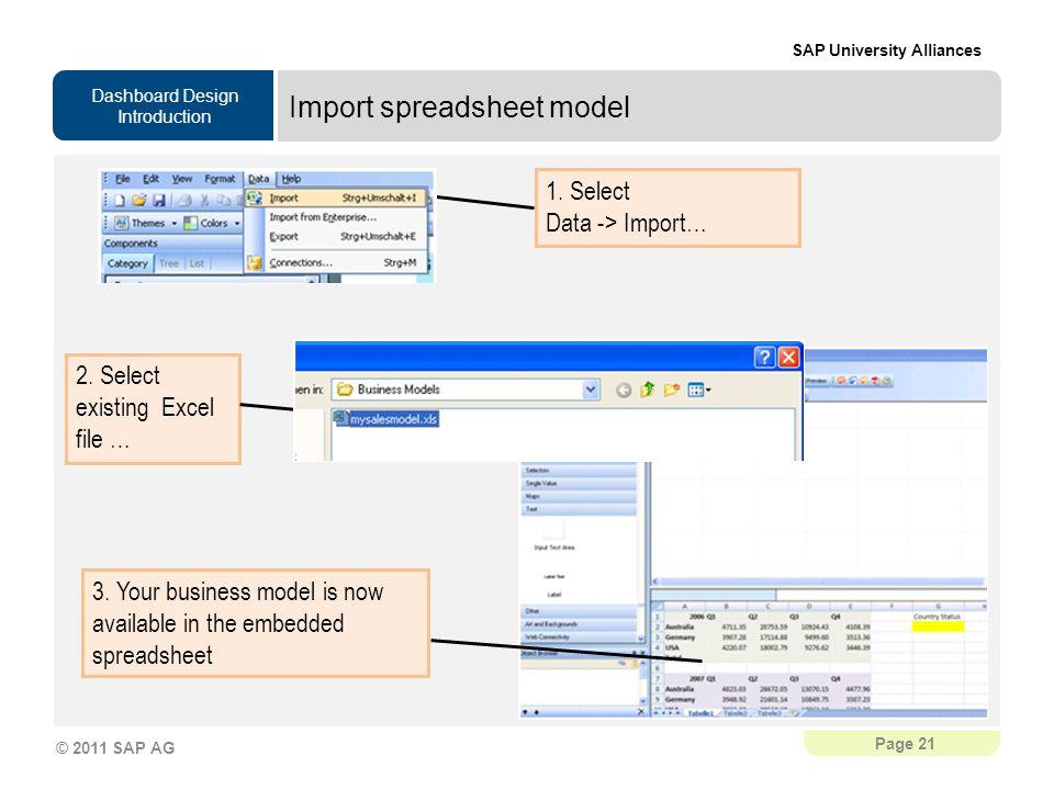 Import spreadsheet model