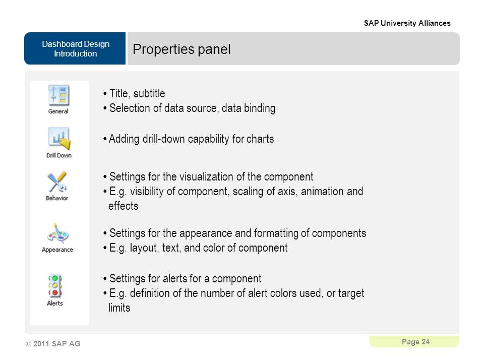 Properties panel Title, subtitle