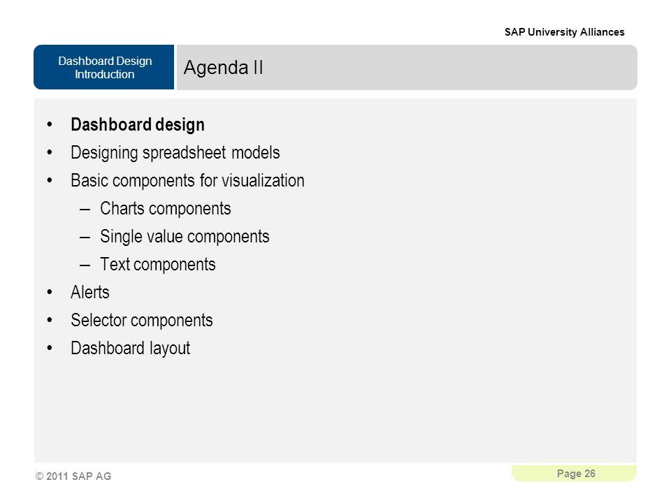 Agenda II Dashboard design. Designing spreadsheet models. Basic components for visualization. Charts components.