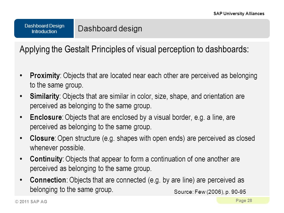 Applying the Gestalt Principles of visual perception to dashboards: