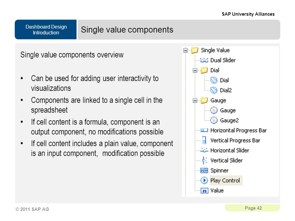 Single value components
