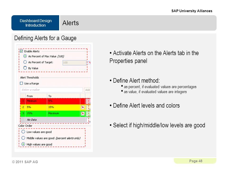 Alerts Defining Alerts for a Gauge. Activate Alerts on the Alerts tab in the Properties panel. Define Alert method: