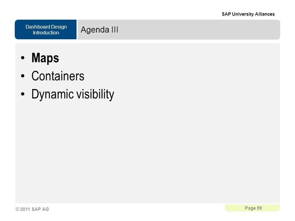 Agenda III Maps Containers Dynamic visibility