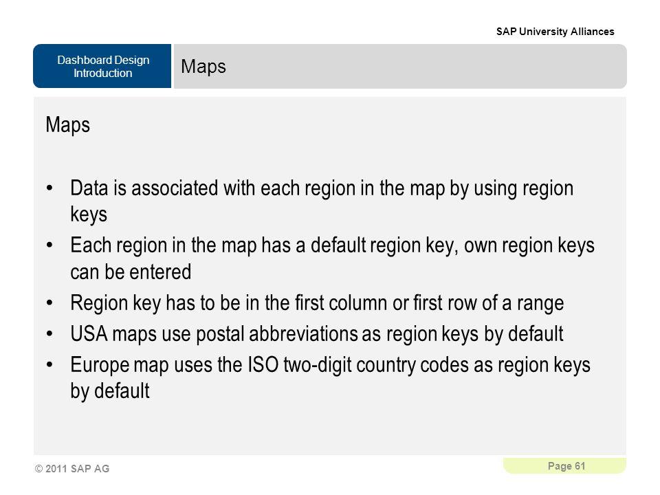 Data is associated with each region in the map by using region keys